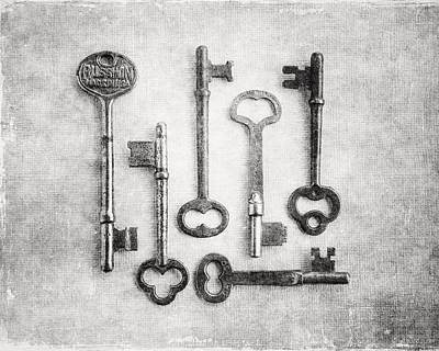 Black And White Photograph Of Vintage Skeleton Keys For Rustic Home Decor Poster by Lisa Russo