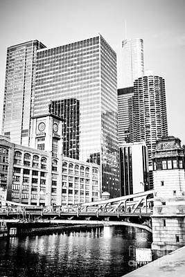Black And White Picture Of Chicago At Lasalle Bridge Poster by Paul Velgos