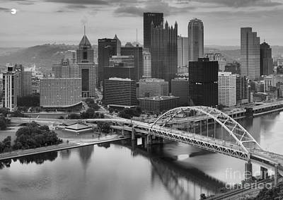 Black And White Pittsburgh Sunrise Poster by Adam Jewell