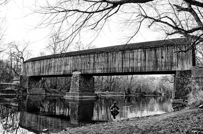 Black And White Schofield Ford Covered Bridge Poster by Bill Cannon