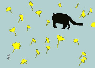 Black Cat In Spring Poster by Anita Dale Livaditis