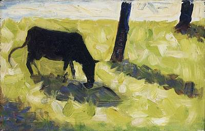 Black Cow In A Meadow, 1881 Poster by Georges Pierre Seurat