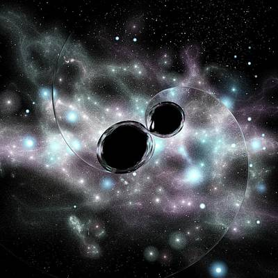 Black Hole Merger And Gravitational Waves Poster by Russell Kightley