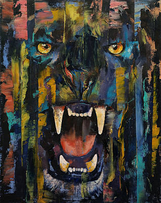 Fangs Poster featuring the painting Black Panther by Michael Creese
