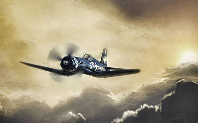 Sunlit Corsair Poster by Peter Chilelli