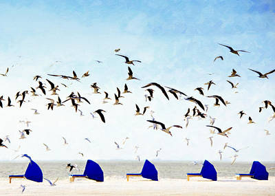 Black Skimmers Over Beach Chairs Poster by Vicki Jauron