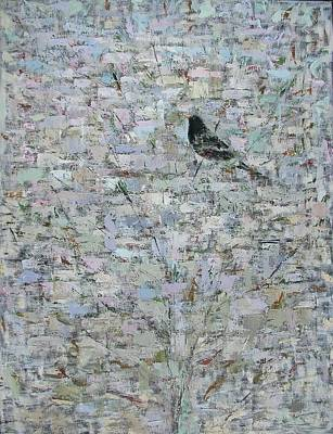 Blackbird In Tree, 2012, Oil On Canvas Poster by Ruth Addinall