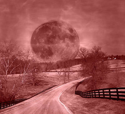 Blood Moon One Of Two Poster by Betsy C Knapp