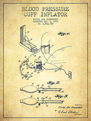 Blood Pressure Cuff Patent From 1970 - Vintage Poster by Aged Pixel