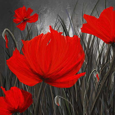Blood-red Poppies - Red And Gray Art Poster by Lourry Legarde