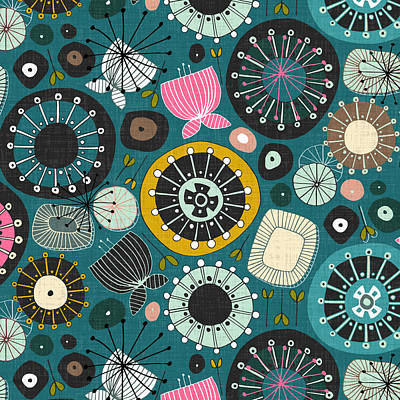 Blooms Teal Poster by Sharon Turner