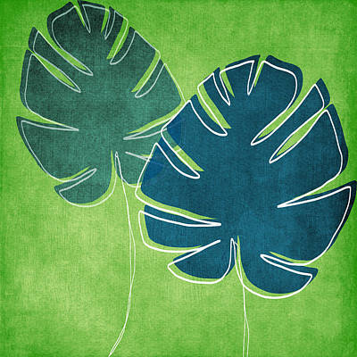 Blue And Green Palm Leaves Poster by Linda Woods