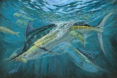 Blue And Mahi Mahi Underwater Poster by Terry Fox