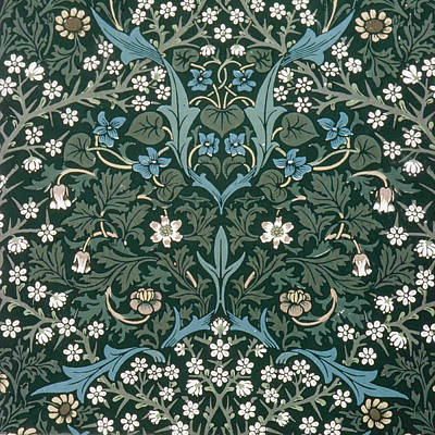 Blue And White Flowers On Green Poster by William Morris