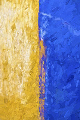 Blue And Yellow Abstract Poster by David Letts