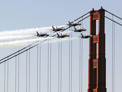 Blue Angels And The Bridge Poster by Bill Gallagher