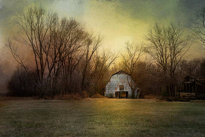 Blue Barn At Sunrise Poster by Jai Johnson