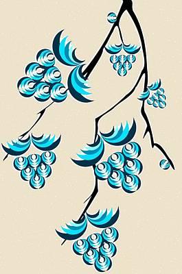 Blue Berries Branch Poster by Anastasiya Malakhova