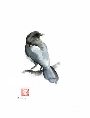 Blue Bird Grey Black Crow Silver Winter Scenery Landscape Watercolor Painting Poster by Johana Szmerdt