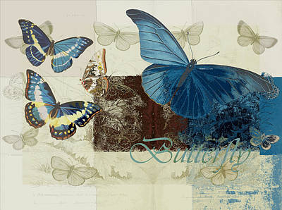 Blue Butterfly - J152164152-01 Poster by Variance Collections