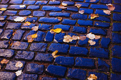 Blue Cobblestones Poster by Pati Photography