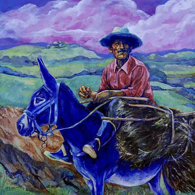 Blue Donkey Poster by Derrick Higgins