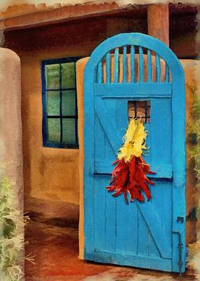 Wooden Poster featuring the painting Blue Door And Peppers by Jeff Kolker