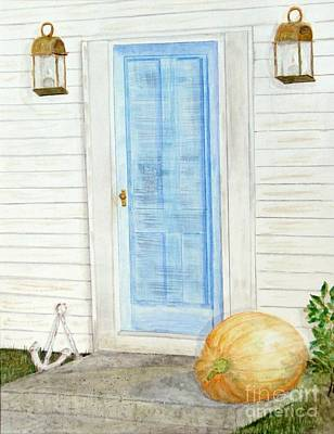 Blue Door With Pumpkin Poster by Barbie Corbett-Newmin