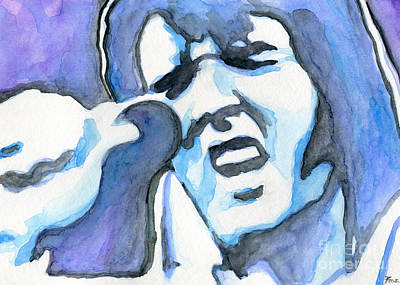 Blue Elvis Poster by Roz Abellera Art