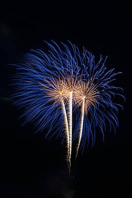 Blue Fireworks Poster by Paul Freidlund