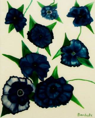Blue Floral Burst Poster by Bamhs Blair