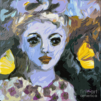 Blue Girl Abstract Modern Art Poster by Ginette Callaway