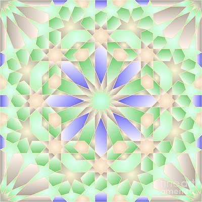 Blue Green Tile Wpiia69 Precessed Poster by Cam Macfarlane
