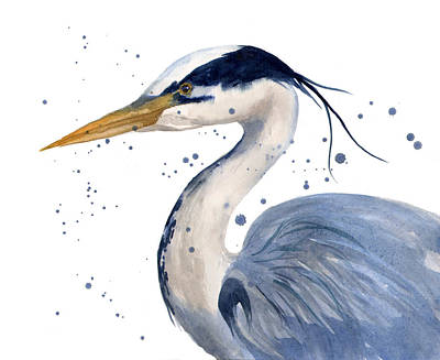 Blue Heron Painting Poster by Alison Fennell