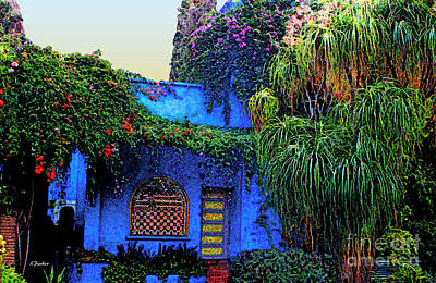 Blue House Of  Marrakech Poster by Linda  Parker