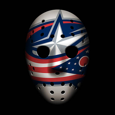Blue Jackets Goalie Mask Poster by Joe Hamilton