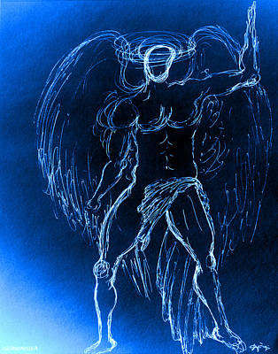 Blue Male Angel Poster by Giorgio Tuscani