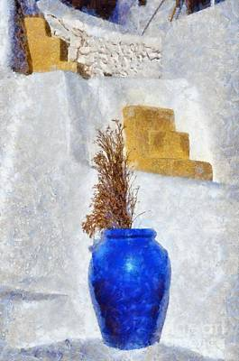 Blue Pot In Oia Poster by George Atsametakis