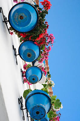 Blue Pots Poster by Tetyana Kokhanets
