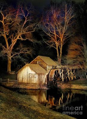Blue Ridge - Mabry Mill Painted At Night I Poster by Dan Carmichael