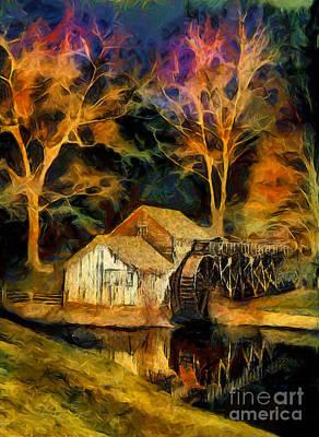 Blue Ridge - Mabry Mill Painted At Night II Poster by Dan Carmichael