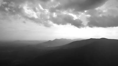 Blue Ridge Mountains Caesars Head Sc In Black And White Poster by Kelly Hazel