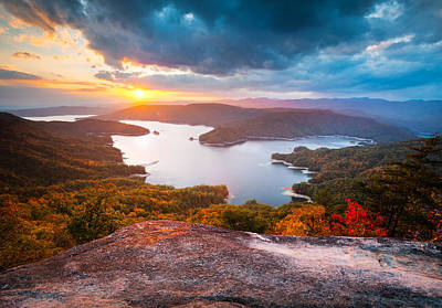 Blue Ridge Mountains Sunset - Lake Jocassee Gold Poster by Dave Allen