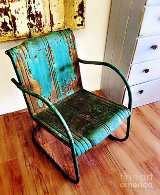 Blue Rusty Chair Poster by Nancy E Stein