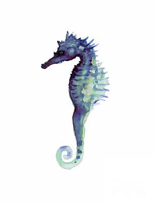 Blue Seahorse Poster by Joanna Szmerdt
