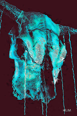 Blue Skulls At Night Poster by Mayhem Mediums