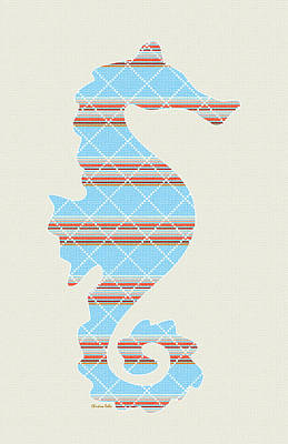 Blue Stripe Seahorse Art Poster by Christina Rollo