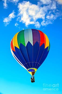 Blue Striped Hot Air Balloon Poster by Robert Bales
