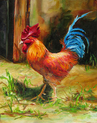 Blue-tailed Rooster Poster by Diane Kraudelt