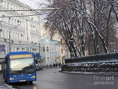 Blue Trolleybus Poster by Anna Yurasovsky